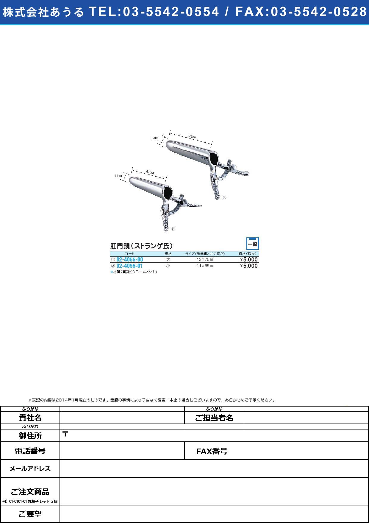 肛門鏡(ストランゲ氏)小 コウモンキョウ 11X65MM【1個単位】(02-4055-01)