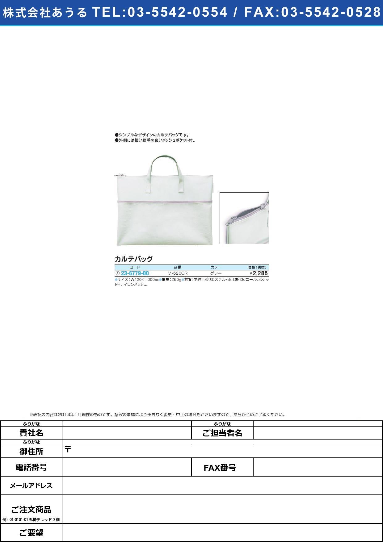 カルテバッグ カルテバッグ(23-6779-00)M-520GR(グレー)【1個単位】【2014年カタログ商品】