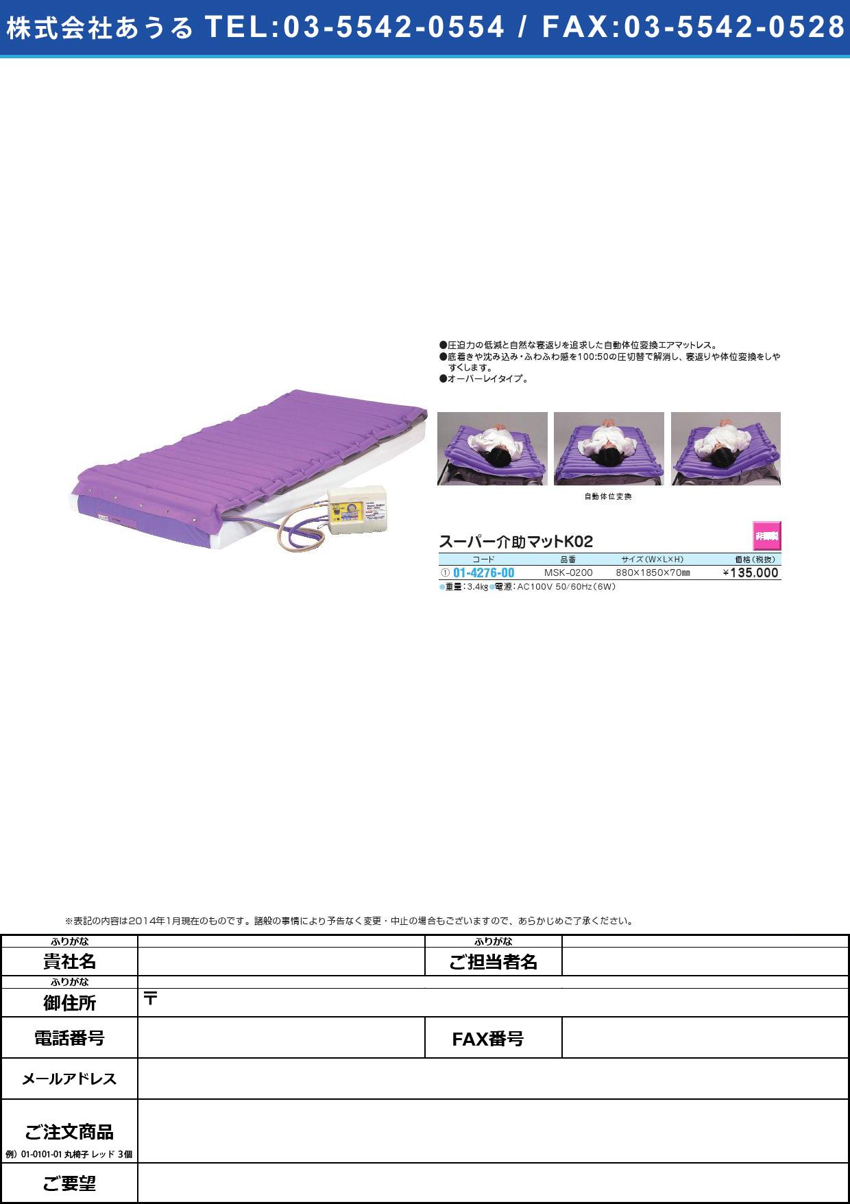 スーパー介助マットK02 スーパーカイジョマットK02(01-4276-00)MSK-0200【1台単位】