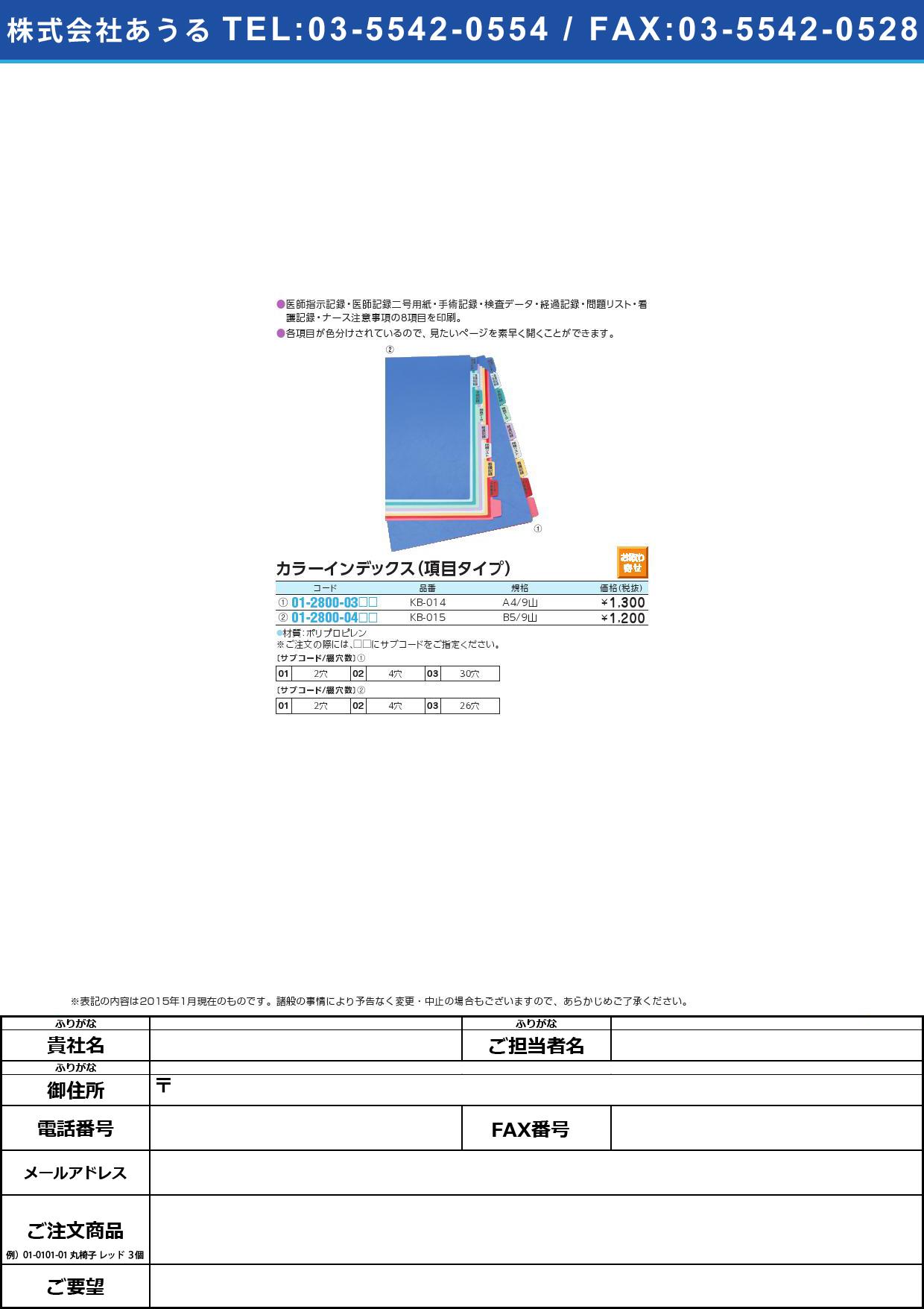 カラーインデックス(項目タイプ) KB015(01-2800-04)KB-015(B5/9ヤマ)2穴【1組単位】