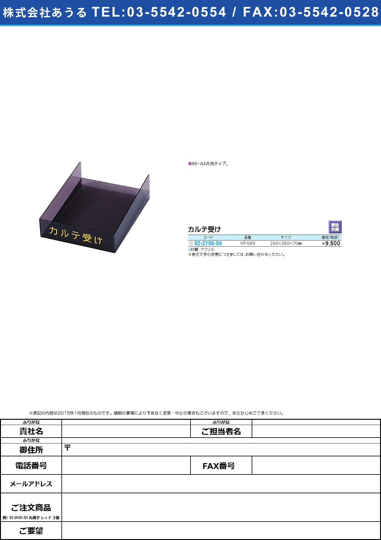 【受注生産】カルテ受け(アクリル) KP589 KP-589(B5・A4キョウヨウ)【1個単位】(02-2790-04)