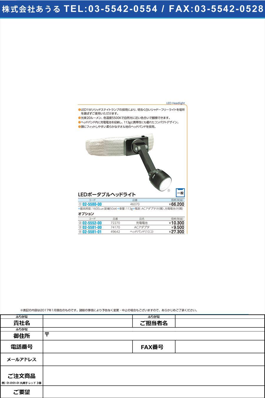 ヘッドライト用充電電池 ヘッドライトヨウジュウデンデンチ 72270(02-5552-00)【1個単位】【2017年カタログ商品】