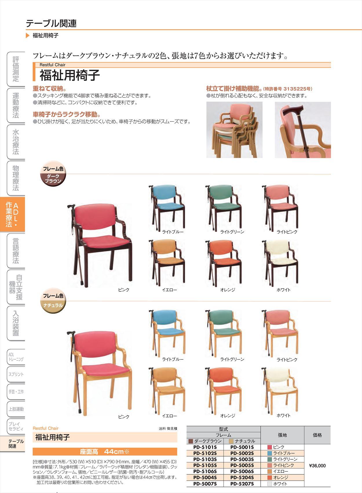 福祉用椅子PD-5207S[脚](sa14Q31276)【酒井医療】