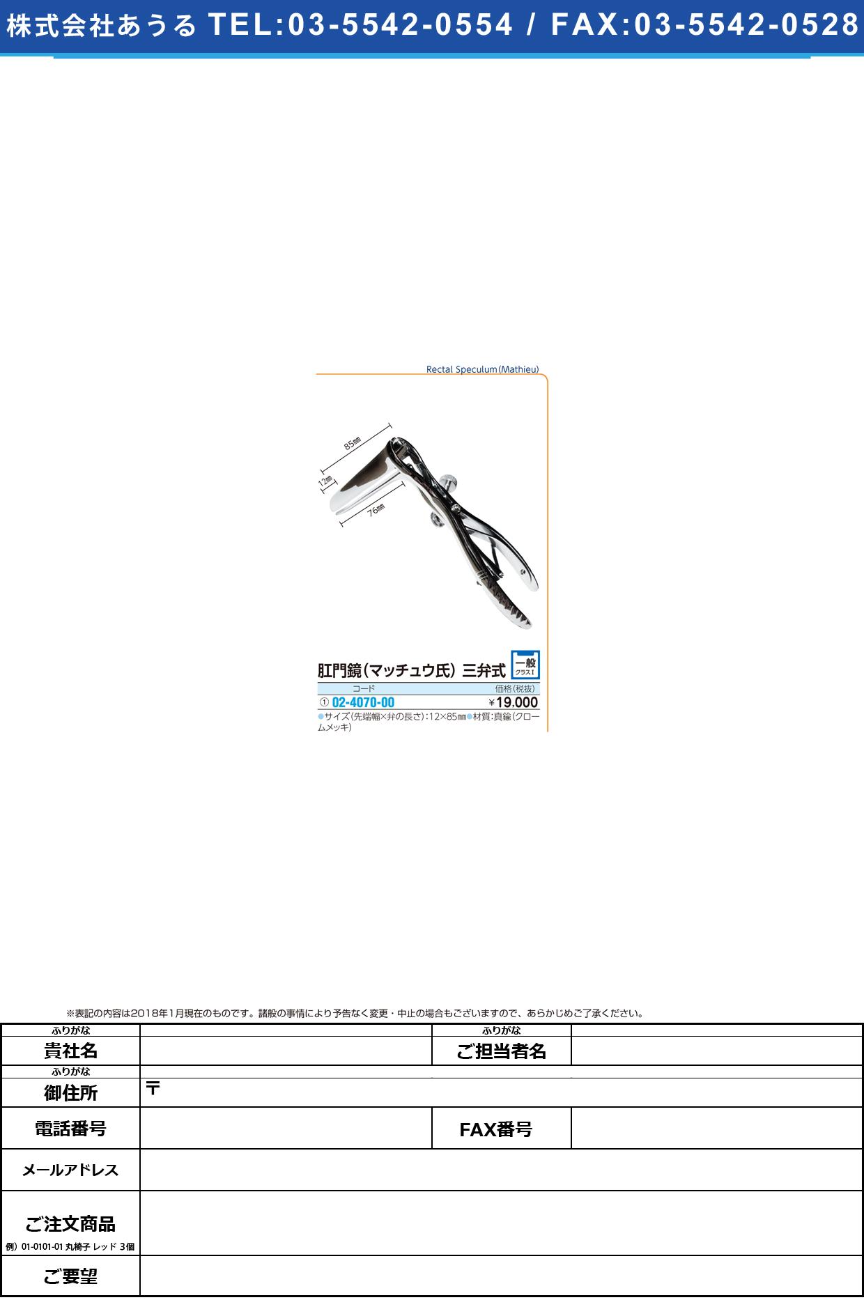 (02-4070-00)肛門鏡(マッチュウ氏)三弁式 12X85MM コウモンキョウマッチウシ【1個単位】【2018年カタログ商品】