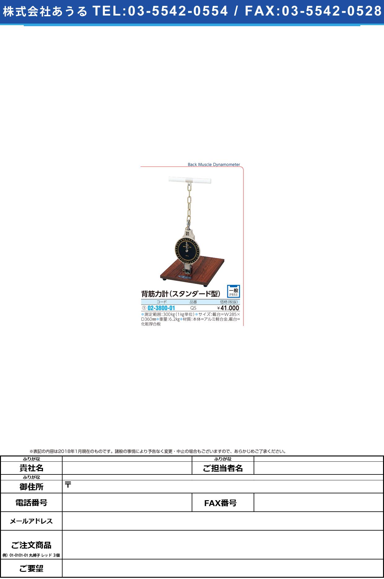 (02-3800-01)背筋力計(スタンダード型) QS(300KG) ハイキンリョクケイスタンダードガタ【1台単位】【2018年カタログ商品】