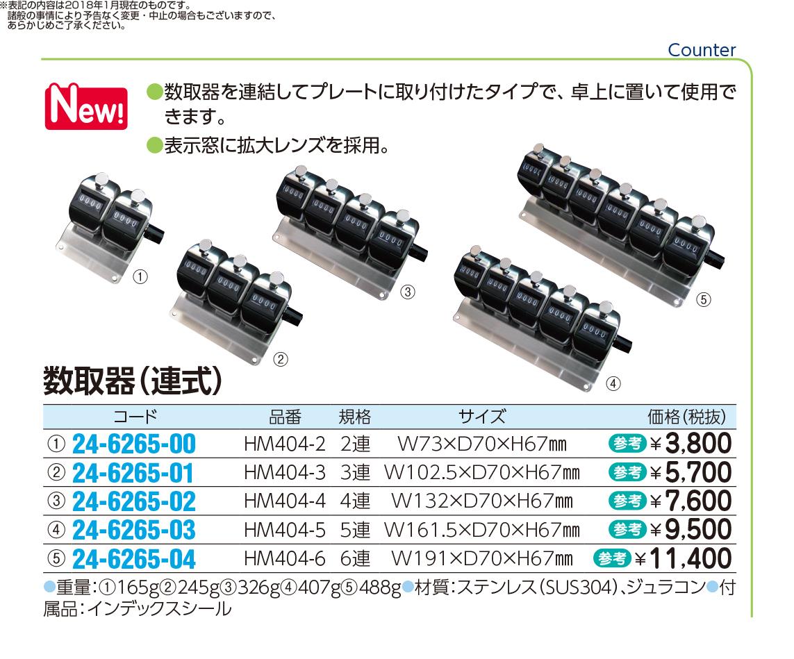 (24-6265-02)数取器(連式)4連 HM404-4 カズトリキ(レンシキ)【1個単位】【2018年カタログ商品】