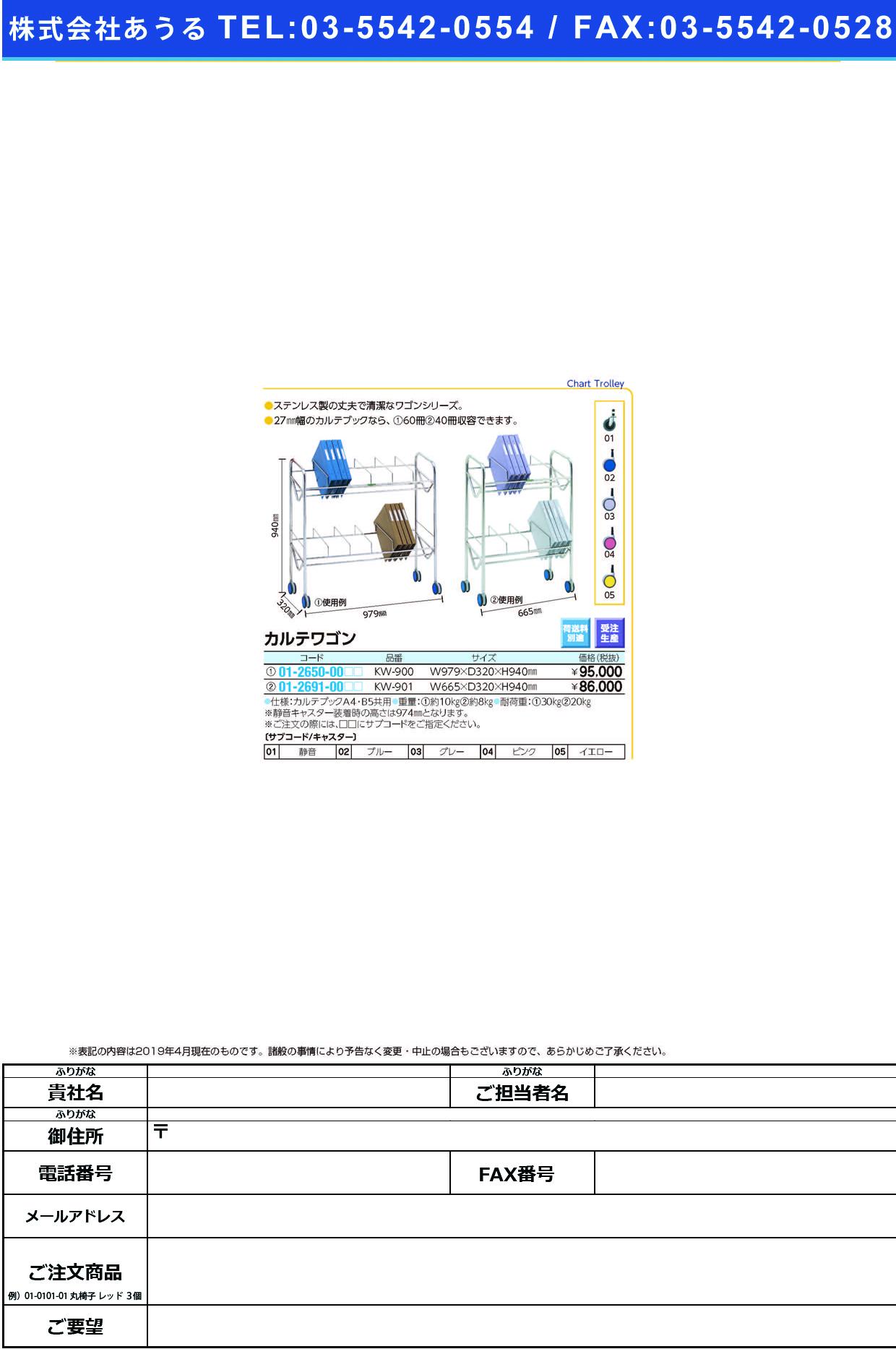 (01-2650-00)カルテワゴン KW-900 KW900 キャスター:ピンク(ケルン)【1台単位】【2019年カタログ商品】